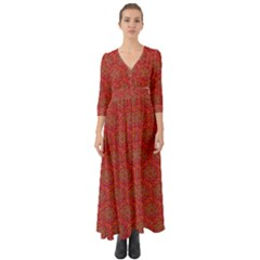 Whirligig Pattern Hand Drawing Orange 01 Button Up Boho Maxi Dress by Cveti