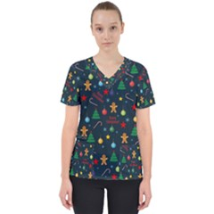 Christmas Pattern Scrub Top