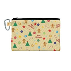 Christmas Pattern Canvas Cosmetic Bag (m) by Valentinaart