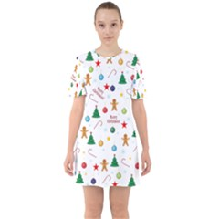 Christmas Pattern Sixties Short Sleeve Mini Dress by Valentinaart