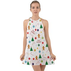 Christmas Pattern Halter Tie Back Chiffon Dress by Valentinaart