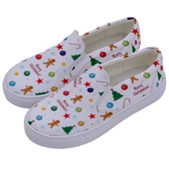 Christmas Pattern Kids  Canvas Slip Ons by Valentinaart