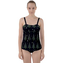 Christmas Tree   Pattern Twist Front Tankini Set