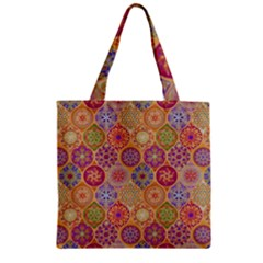 Bohemian Pattern Eye Orange Zipper Grocery Tote Bag by Cveti