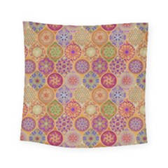 Bohemian Pattern Eye Orange Square Tapestry (small) by Cveti
