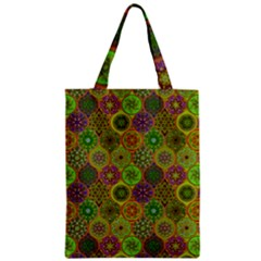 Bohemian Hand Drawing Patterns Green 01 Zipper Classic Tote Bag by Cveti