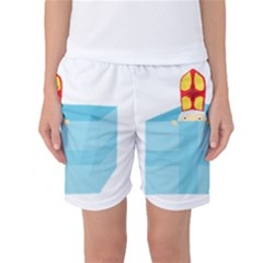 Funny Cute Kids Art St Nicholas St  Nick Sinterklaas Hiding In A Gift Box Women s Basketball Shorts by yoursparklingshop