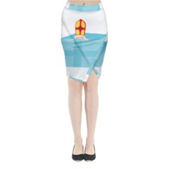Funny Cute Kids Art St Nicholas St  Nick Sinterklaas Hiding In A Gift Box Midi Wrap Pencil Skirt by yoursparklingshop