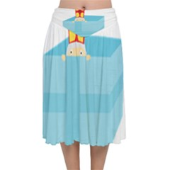 Funny Cute Kids Art St Nicholas St  Nick Sinterklaas Hiding In A Gift Box Velvet Flared Midi Skirt by yoursparklingshop