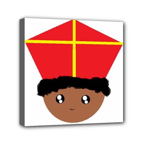Cutieful Kids Art Funny Zwarte Piet Friend Of St  Nicholas Wearing His Miter Mini Canvas 6  X 6  by yoursparklingshop