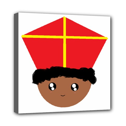 Cutieful Kids Art Funny Zwarte Piet Friend Of St  Nicholas Wearing His Miter Mini Canvas 8  X 8  by yoursparklingshop
