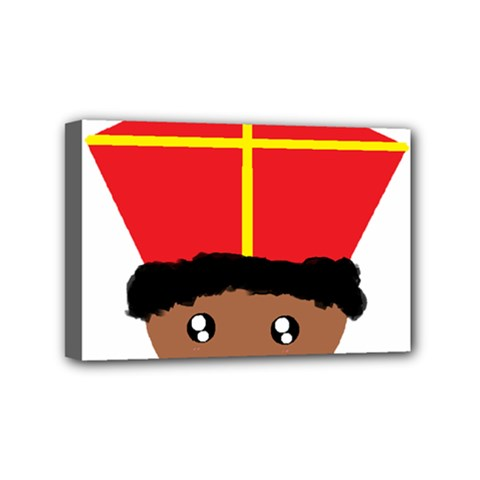 Cutieful Kids Art Funny Zwarte Piet Friend Of St  Nicholas Wearing His Miter Mini Canvas 6  X 4  by yoursparklingshop