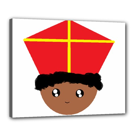 Cutieful Kids Art Funny Zwarte Piet Friend Of St  Nicholas Wearing His Miter Canvas 20  X 16  by yoursparklingshop