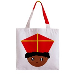 Cutieful Kids Art Funny Zwarte Piet Friend Of St  Nicholas Wearing His Miter Grocery Tote Bag by yoursparklingshop