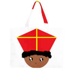 Cutieful Kids Art Funny Zwarte Piet Friend Of St  Nicholas Wearing His Miter Zipper Large Tote Bag by yoursparklingshop
