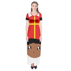 Cutieful Kids Art Funny Zwarte Piet Friend Of St  Nicholas Wearing His Miter Short Sleeve Maxi Dress by yoursparklingshop