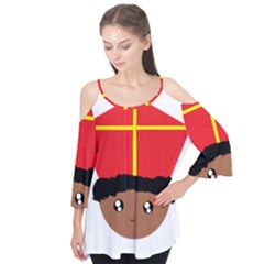 Cutieful Kids Art Funny Zwarte Piet Friend Of St  Nicholas Wearing His Miter Flutter Tees by yoursparklingshop