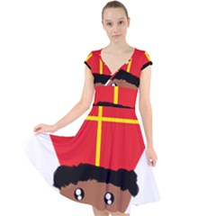 Cutieful Kids Art Funny Zwarte Piet Friend Of St  Nicholas Wearing His Miter Cap Sleeve Front Wrap Midi Dress by yoursparklingshop
