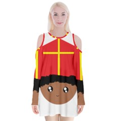 Cutieful Kids Art Funny Zwarte Piet Friend Of St  Nicholas Wearing His Miter Velvet Long Sleeve Shoulder Cutout Dress by yoursparklingshop