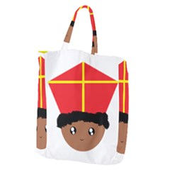 Cutieful Kids Art Funny Zwarte Piet Friend Of St  Nicholas Wearing His Miter Giant Grocery Zipper Tote by yoursparklingshop