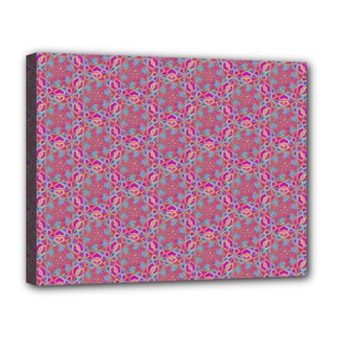 Whirligig Pattern Hand Drawing Pink 01 Canvas 14  X 11  by Cveti