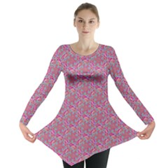 Whirligig Pattern Hand Drawing Pink 01 Long Sleeve Tunic  by Cveti