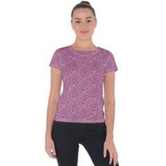 Whirligig Pattern Hand Drawing Pink 01 Short Sleeve Sports Top  by Cveti