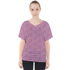 Whirligig Pattern Hand Drawing Pink 01 V Neck Dolman Drape Top by Cveti