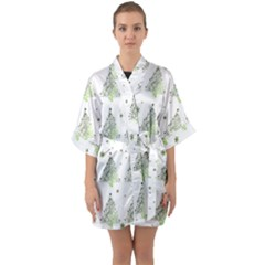 Christmas Tree   Pattern Quarter Sleeve Kimono Robe by Valentinaart