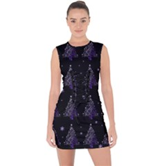 Christmas Tree   Pattern Lace Up Front Bodycon Dress