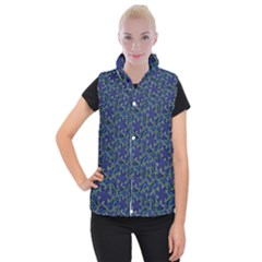 Whirligig Hand Drawing Geometric Pattern Blue Women s Button Up Puffer Vest