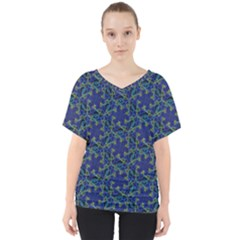 Whirligig Hand Drawing Geometric Pattern Blue V Neck Dolman Drape Top by Cveti
