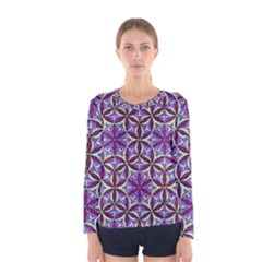 Flower Of Life Hand Drawing Pattern Women s Long Sleeve Tee by Cveti