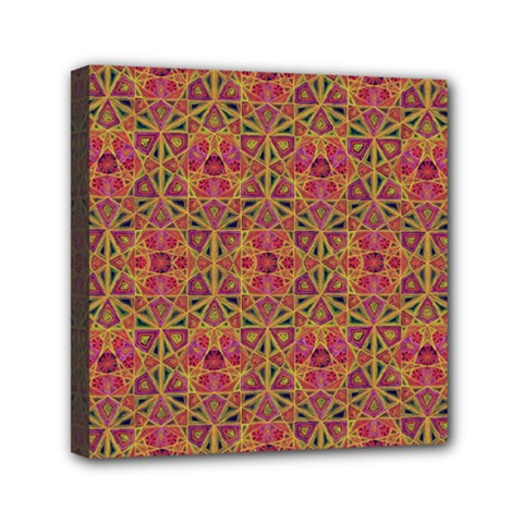 Star Tetrahedron Pattern Red Mini Canvas 6  X 6