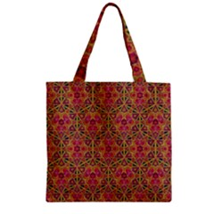 Star Tetrahedron Pattern Red Zipper Grocery Tote Bag by Cveti