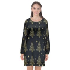 Christmas Tree   Pattern Long Sleeve Chiffon Shift Dress