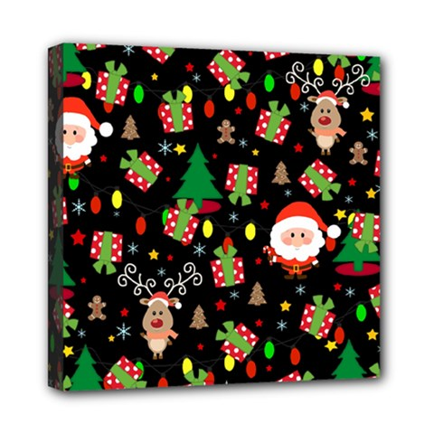Santa And Rudolph Pattern Mini Canvas 8  X 8  by Valentinaart