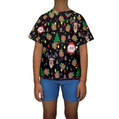Santa And Rudolph Pattern Kids  Short Sleeve Swimwear by Valentinaart