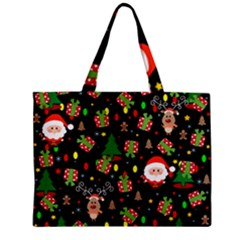 Santa And Rudolph Pattern Zipper Mini Tote Bag by Valentinaart