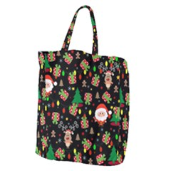 Santa And Rudolph Pattern Giant Grocery Zipper Tote by Valentinaart