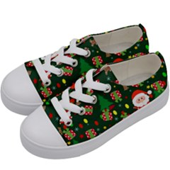 Santa And Rudolph Pattern Kids  Low Top Canvas Sneakers by Valentinaart