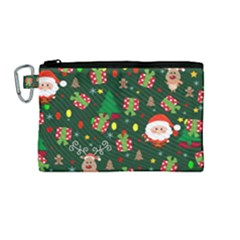 Santa And Rudolph Pattern Canvas Cosmetic Bag (m) by Valentinaart