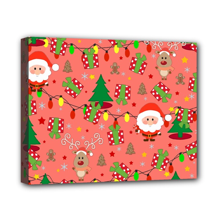 Santa and Rudolph pattern Canvas 10  x 8