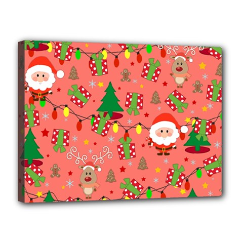 Santa And Rudolph Pattern Canvas 16  X 12