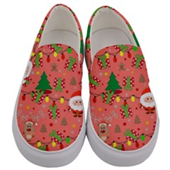 Santa And Rudolph Pattern Men s Canvas Slip Ons