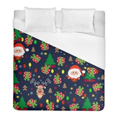 Santa And Rudolph Pattern Duvet Cover (full/ Double Size) by Valentinaart