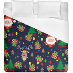 Santa And Rudolph Pattern Duvet Cover (king Size) by Valentinaart
