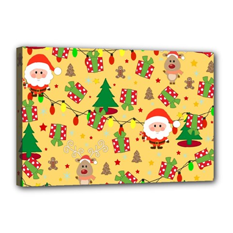 Santa And Rudolph Pattern Canvas 18  X 12  by Valentinaart