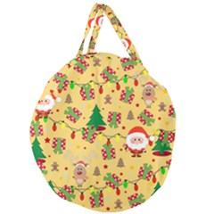 Santa And Rudolph Pattern Giant Round Zipper Tote