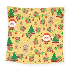 Santa And Rudolph Pattern Square Tapestry (large) by Valentinaart
